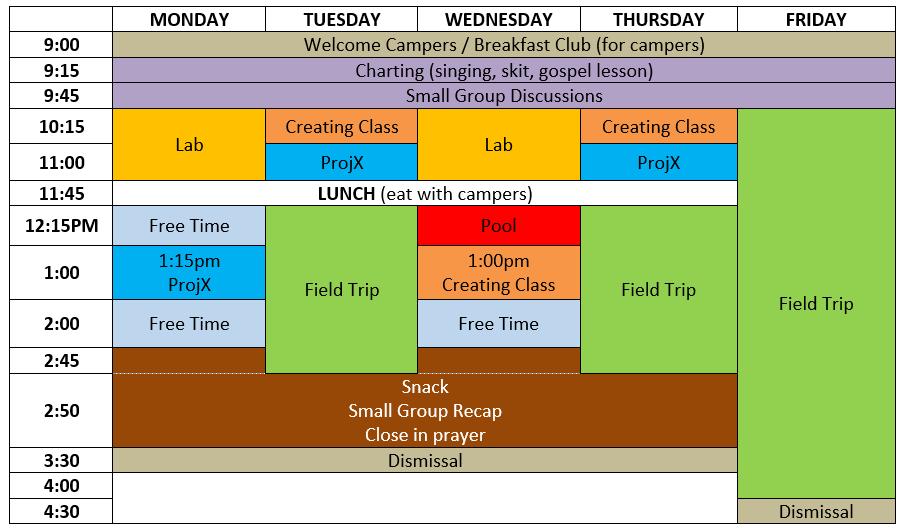 Camper Schedule 16
