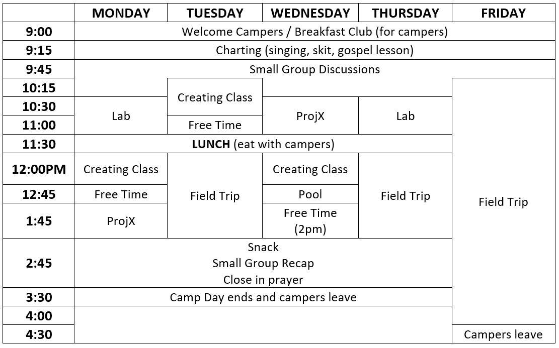 Camper Schedule 18